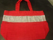 NEW Kitson Red Silver Rhinestone Tote Beach handbag / Purse