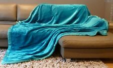 TEAL TURQUOISE WINTER SOFT MINK FUR THROW SOFA / BED FLEECE 200cm x 240cm