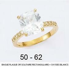 Dolly-Bijoux Alliance T58 Solitaire Diamant Cz Carré 8mm Plaqué Or 18K 5 Microns
