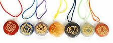 REIKI ENERGY CHARGED CRYSTAL CHAKRA SET 7 X ENGRAVED SANSKRIT PENDANT SET GIFT