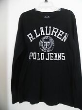 Polo Ralph Lauren 1967 Mens M Long Sleeve Black White Cotton T Shirt RLC Tee