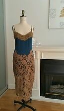 New Haute Hippie Supphire Dress Slip Applique Lace sixe Small Rare
