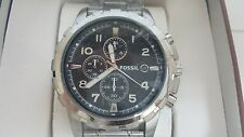 Fossil Dean FS4542 Stainless Steel Bracelet Black Dial Chronograph Watch NEW