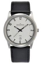 Skagen Men's Analog Quartz Stainless Steel Black Leather Watch 124XLSLB