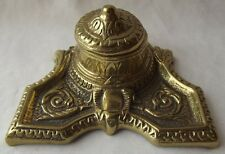VINTAGE ANTIQUE HEAVY SOLID BRASS INKWELL