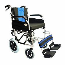 Lightweight deluxe folding transit aluminium travel wheelchair with brakes