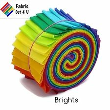 "20 x 2.5"" Bright Jelly Roll PreCut Fabric Strips, 2.5 inch x WOF, Die Cut"