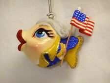 Katherine's Collection Washington kissing fish Flounding father ornament US flag