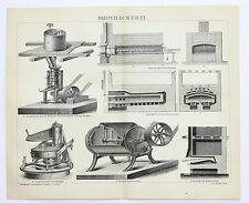 1883 Bread Bakery Engraving Mixer Oven Baking Original German Brotbackerei