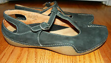 CLARKS Artisan Active Air Comfort Flat Slingback Shoes Black Leather Suede 9 M