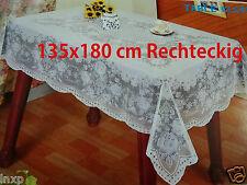 135x180 cm RECHTECKIG Weiß Tischdecke TISCHDECKE SCHUTZDECKE Blumenmuster Viny