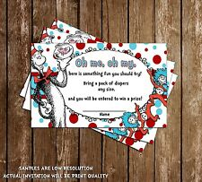 Dr Seuss - Cat in the Hat - Thing 1- Baby Shower Diaper Raffle Tickets - 20 Pack