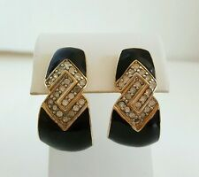 Trifari Rhinestone Black Enamel J Style Earrings Pierced Posts Signed Goldtone