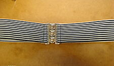 "MADE TO ORDER Black & White Stripey Elastic Clinch 1950's Belt 2.5"" wide"