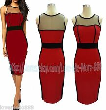 NEW WOMENS Optical Illusion Slim CELEB Cocktail Party Pencil midi Dress RED XL
