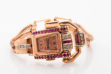 Antique $6000 2ct Ruby Diamond Signed PAUL DITISHEIM 14k Rose Gold Ladies Watch