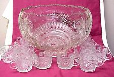 Vintage Daisy Swirl Pattern L.E. Smith? Punch Bowl with 12 Matching Cups
