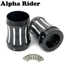 "Deep Cut 4"" Exhaust Muffler Tip End Caps for Harley Bagger Touring Slotted Pipe"
