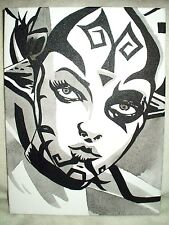 Canvas Painting Star Wars Darth Talon Face B&W Art 16x12 inch Acrylic