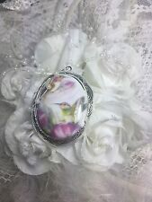 valentine Hummingbird Locket Antique Silver Necklace Porcelain Mom Aunt Grandma