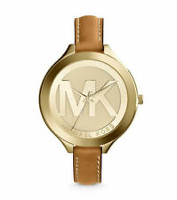 MICHAEL KORS MK2326 GOLD TONE SLIM RUNWAY MK BROWN LEATHER WOMEN'S WATCH $195