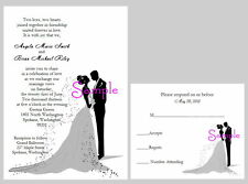 100 Personalized Custom Elegant Bride and Groom Wedding Invitations Cards Set