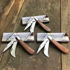 """3 Lot Rite Edge 4"""" Closed Hawkbill Wood Handle Electrician Folding Knife 210595"""