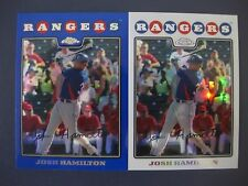 (2) JOSH HAMILTON CARD LOT 2008 TOPPS CHROME REFRACTOR/BLUE REFRACTOR #116