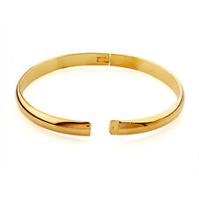 Smooth Genuine Wristband 14K Gold Filled Womens Simple Cuff Bangle Bracelet