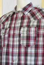 S-Small-Levis Brown Plaid Long Sleeve Western Style Button-Front Men's Shirt