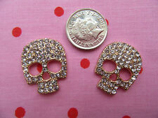 Gold Alloy Skull Small X2 FlatBack Rhinestone Cabochon 3D Phone Decoration  DIY