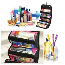 Hot Makeup Organizer Pouch Roll Up Case Travel Toiletry Bag Foldable Black L