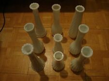 Lot of 9 Vintage White Milk Glass Vases for Wedding Event Reception