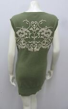 AUTUMN CASHMERE 100% CASHMERE LONG SWEATER TUNIC VEST SAGE GREEN EMBROIDERED S