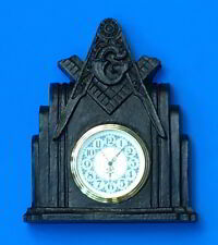 Masonic Clock Cold/Cast Iron patina Square & Compass Working Tools