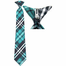 New 100% Polyester Woven  Kids Clip On Pre Tied Neck tie plaid blue size 14