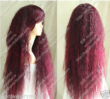 New Cosplay Cos wine Red mix long Corn hot Heat-Resistant wig
