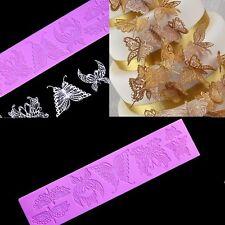 Sugar Lace Mat Butterfly Silicone Cake Mold Border Christmas Cupcake Baking Tool