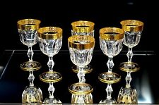 Crystal Set of 6 Italian Wine Water Glasses Goblets 6 oz 24K Gold Greek Key Trim