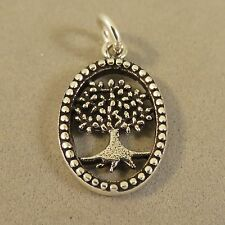 .925 Sterling Silver SMALL TREE IN OVAL Charm NEW Pendant Leaves Roots 925 GA62