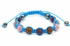 Crystal Disco 10mm Ball Macramé Shamballa Bracelet with Genuine Hematite stone