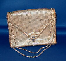 Whiting & Davis Metal Mesh Bag Double Chain Silver Color Lt Green Interior Good
