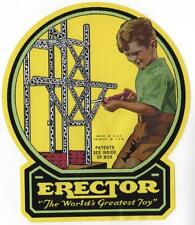 1-Outside Lid Label for Erector Sets- Green Boy - No Glue needed