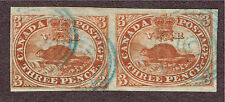 CANADA #4 UNEVEN SETTING PAIR BLUE  CANCEL F-VF (JULY22