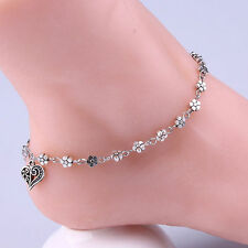 Fashion Love Heart Anklet Foot Chain Ankle Bracelet Summer Silver Tone