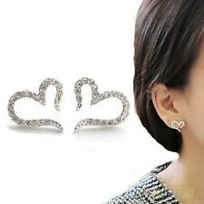 1 Pair New Fashion Women Lady Elegant Heart Crystal Silver Ear Stud Earrings