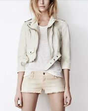 AllSaints Tomlin biker jacket Cropped leather cream Size UK 12