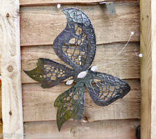 SHABBY CHIC BLACK BUTTERFLY CLIP ON FLORAL DECORATION JEWELLED BODY LARGE SIZE