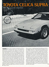 1982 Toyota Celica Supra Road Test - Original Car Print Article J246