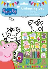 PEPPA PIG COLOURING SET WITH STICKERS PENCILS CHILDRENS FUN ACTIVITY BOOK PECST